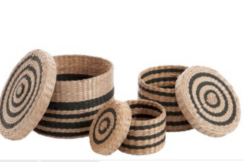 70850  SET OF 3 BASKETS WITH LID PAPER NATURAL AND BLACK