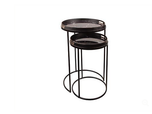 S/2 END TABLES ROUND WITH MIRROR TOP&HANDLE F1-S6/BLA