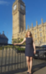 Victoria Charleston outside UK Parliamen building, the Palaceof Westminster, Big Ben