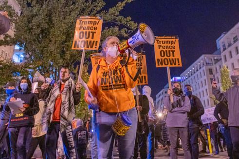 Nov. 3. 2020 Election Night Protest at Black Lives Matter Plaza.