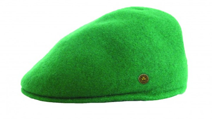 Emerald Green Wool Flat Cap