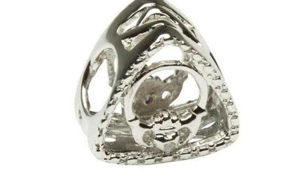 Diamond set Claddagh Triangle Bead