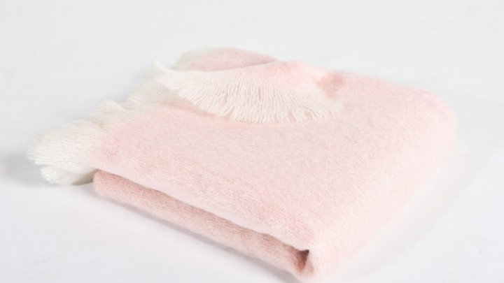 Mohair Throw - Pink & White