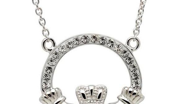White Swarovski Crystal Claddagh Necklace