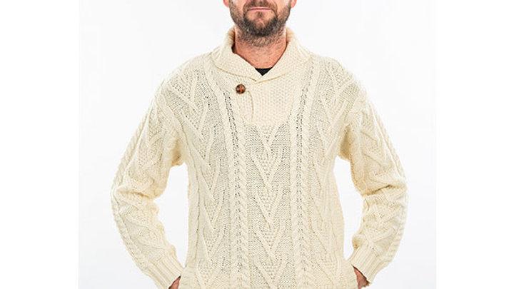 Mens Shawl Collar Single Button Sweater