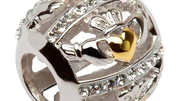 Silver White Swarovski Claddagh Bead