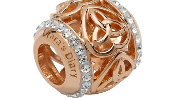 Silver and Rose Gold Trinity Heart Bead Adorned With Swarovski Crystals