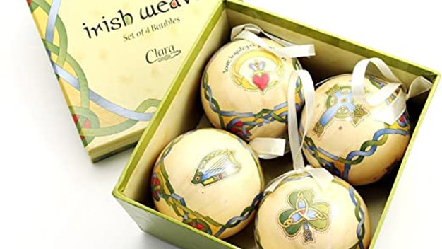 Hatbox of 4 Shamrock Gloss Baubles