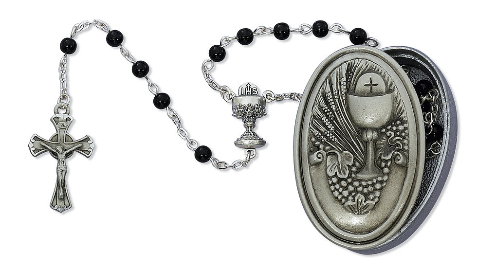 5MM BLACK ROSARY WITH PEWTER GIFT BOX