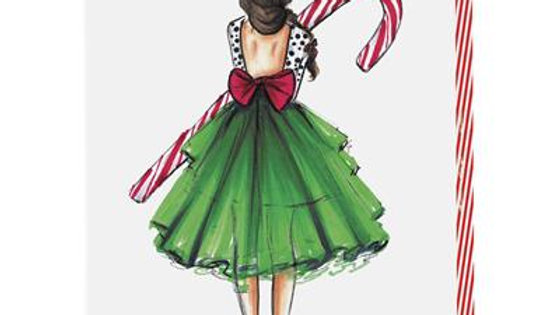 Candy Cane Girl Holiday Assorted Boxed Cards