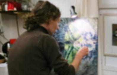 `james millward artist painting in mayflower arts gallery