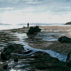 Man, dog and Mothecombe bay