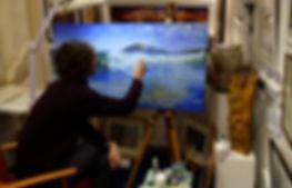 `james millward artist painting in Mayfloer arts gallery plymotuh barbican