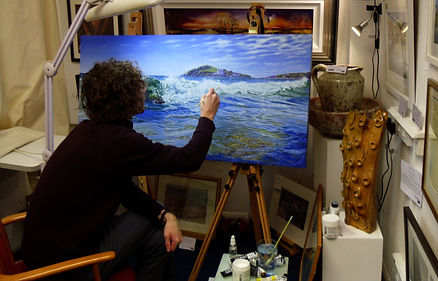 `james millward artist painting in Mayfloer arts gallery plymotuh barbican