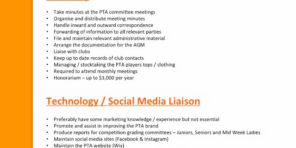 PTA Committee - Positions Vacant