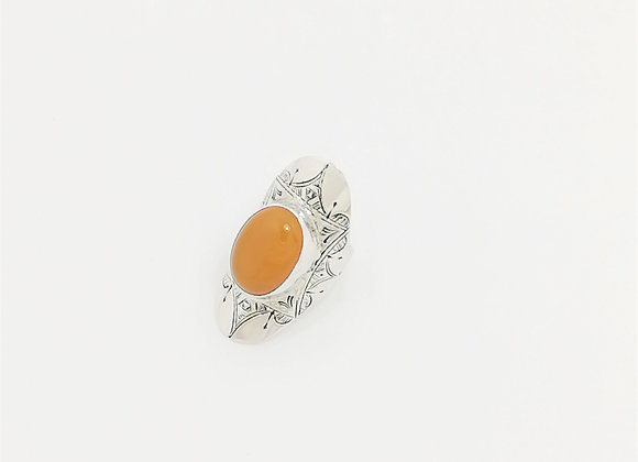 BAGUE EN ARGENT & CALCITE ORANGE