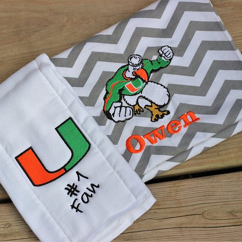 Personalized University Burp Cloths