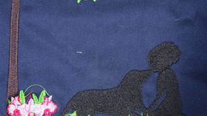 Girl in Garden with Dog