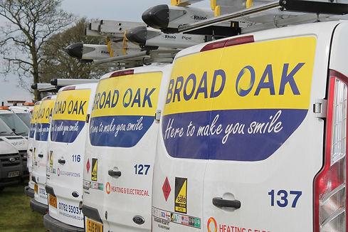 Three Broad Oak vans lined up.