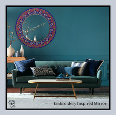 Lace inspired Round Mirror with Deep Etching and Back painted