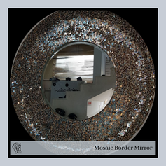 Round Mirror with Mosaic Border
