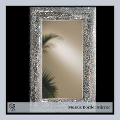 Rectangular Mirror with Mosaic Border