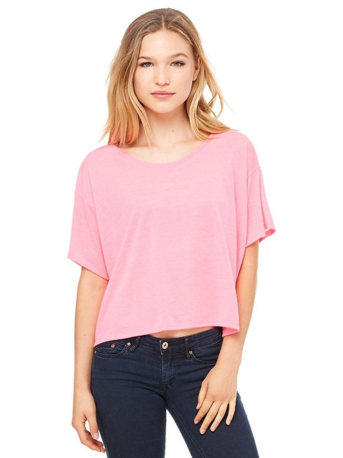 Ladies Bella+Canvas Flowy Boxy Cropped Crewneck T-Shirt