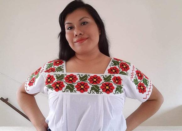 Blusa artesanal mexicana - Bordado Nahua Primavera