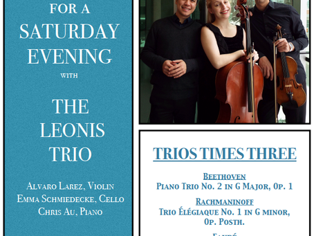 MUSIC for a SATURDAY EVENING with THE LEONIS TRIO