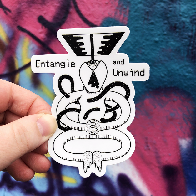 Entangle and Unwind Sticker