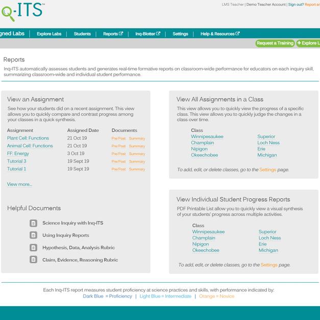 Teacher Reports Hub in Inq-ITS