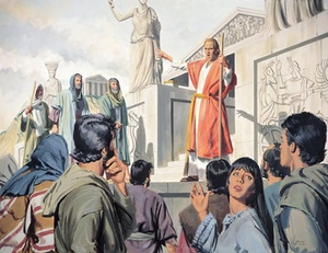 A drawing showing Paul as a confident public speaker in front of the temples in Greece.