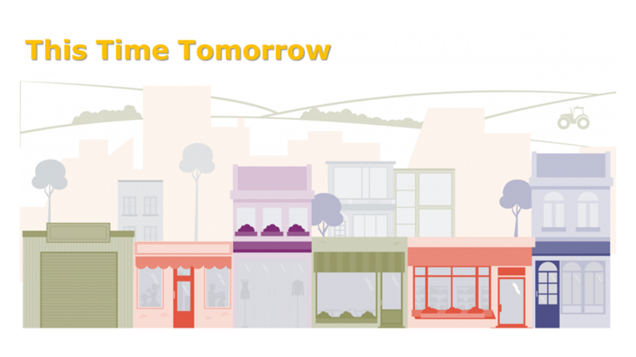 Graphic design of an English high street with hills in the background and the words 'This Time Tomorrow' in orange at the top.