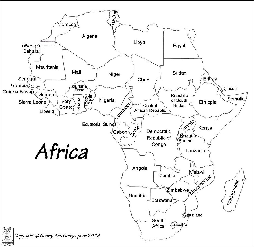 Outline map of the countries of Africa labeled