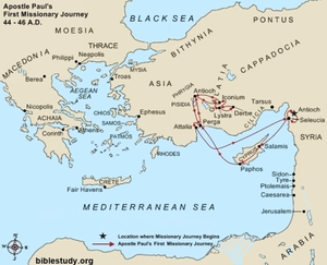 Map of Paul's first journey showing that he never got beyond modern day Turkey