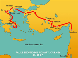 Map of Paul's second missionary journey showing that he made it all the way to Athens, Greece this time stopping in several other Greek cities along the way.