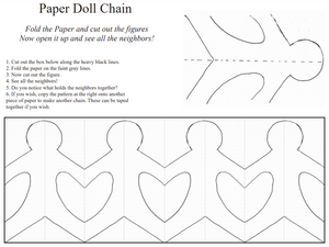 Paper doll chain template and instructions.