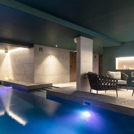 Photographe hôtel à Annecy, photographie du Spa du BlackBass par Florian Peallat Photographe.
