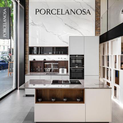 Photographe professionnel de magasins à Lyon, entrée de la boutique Porcelanosa.