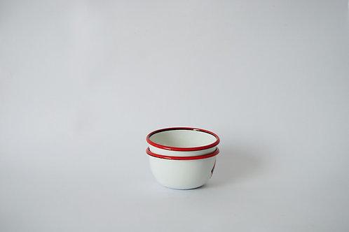 Bowl mini blanco borde rojo