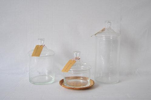 Frasco de vidrio con tapa 5 tamaños