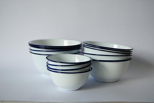 Bowls enlozados, 3 tamaños, borde azul