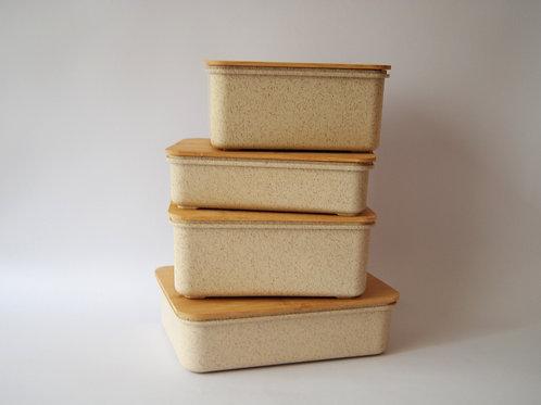 Recipiente con tapa biodegradable
