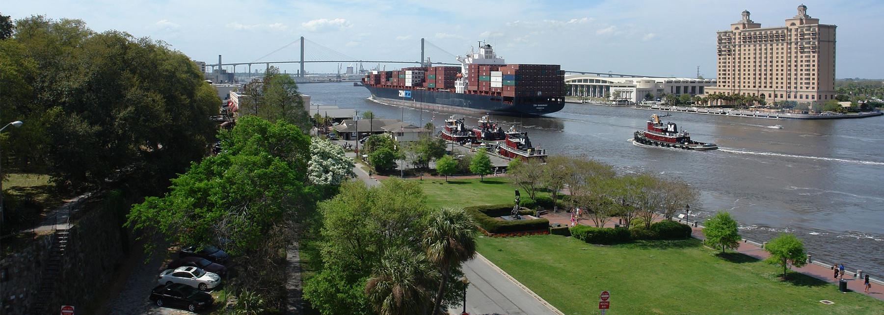 Ship on Savannah Riverfront