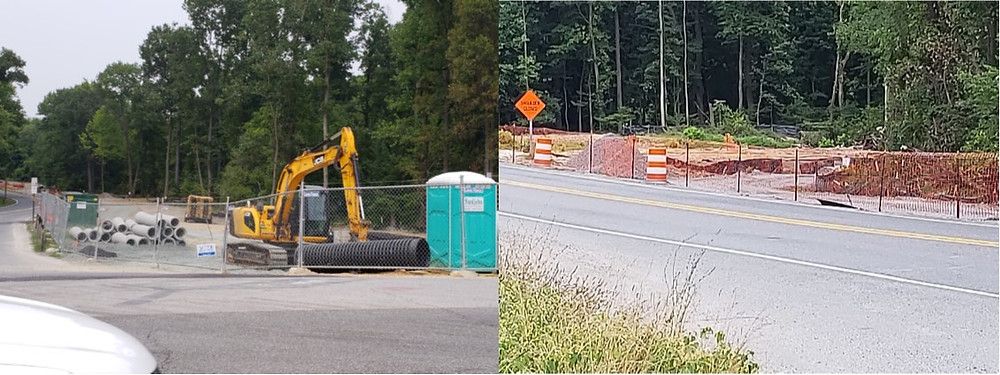 The trail construction on Sellman Road (left) and Cherry Hill (right)