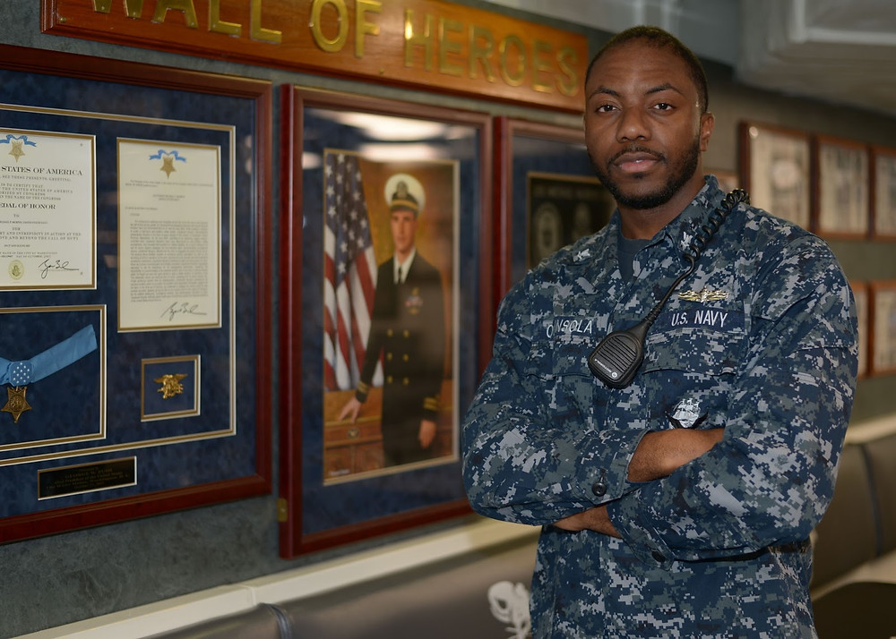 Petty Officer 3rd Class Ayobami Ogunsola. Photo by Mass Communication Specialist 2nd Class Amanda Moreno