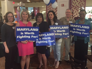 Greater Laurel Beltsville Democratic Club members Carolyn Brosch, Kathleen Matthews, Linda Diasgranados, Michelle Garcia, Stephen Hubbard and Salome Peters