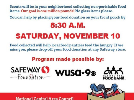 Annual Scouting for Food Drive is coming on November 10th with a Brand New Look