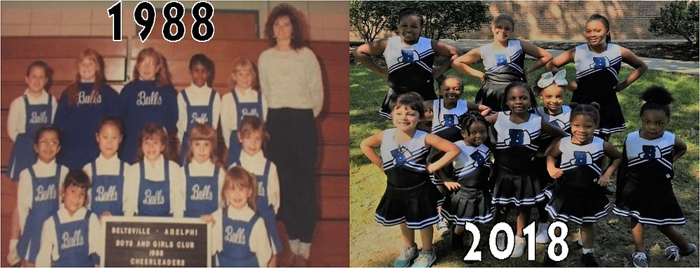What a difference 30 years makes in the 1988 Beltsville Bulls cheerleaders and today's cheerleaders!
