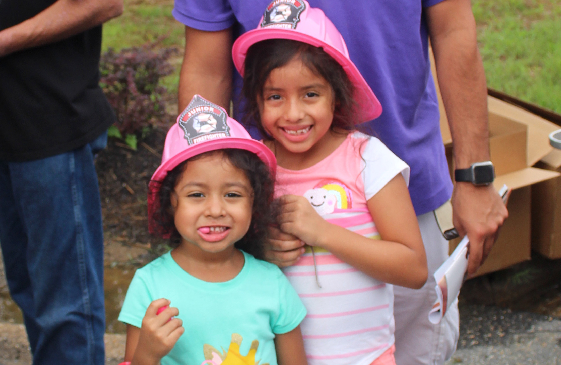 Girls in pink Fire hats
